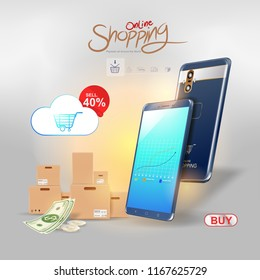 Shopping Online on Website or Mobile Application Vector Background for Marketing and Digital marketing.
