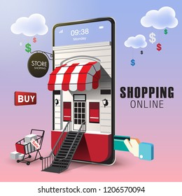 Shopping Online on Website or Mobile Application Vector Concept Marketing and Digital marketing. VECTOR version2