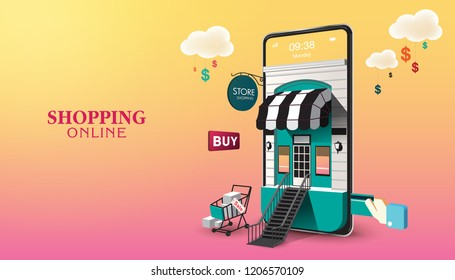 Shopping Online on Website or Mobile Application Vector Concept Marketing and Digital marketing. Horizontal view. VECTOR version1