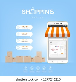 Shopping Online on Website or Mobile Application Vector Concept Marketing and Digital marketing