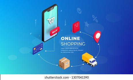 Shopping Online on Website or Mobile Application. Concept Marketing. 3d vector isometric digital marketing illustration. Horizontal view. Can use for web banner, infographics, presentation