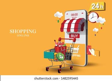 Shopping Online on Website or Mobile Application Vector Concept Marketing and Digital marketing, Orange Background.
