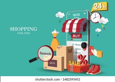Shopping Online on Website or Mobile Application Vector Concept Marketing and Digital marketing, Green Background