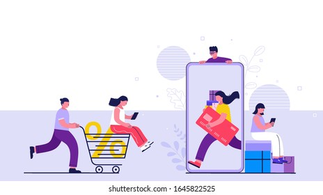Shopping online on website or mobile application. People buy online making payments from smartphone. Online stores and e-commerce.