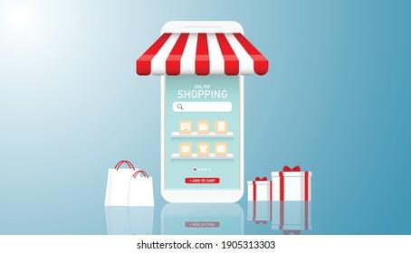 Shopping Online on Website or Mobile Application . Concept  Digital marketing. Vector illustration.