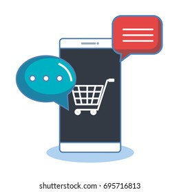 shopping online with smartphone digital internet sms