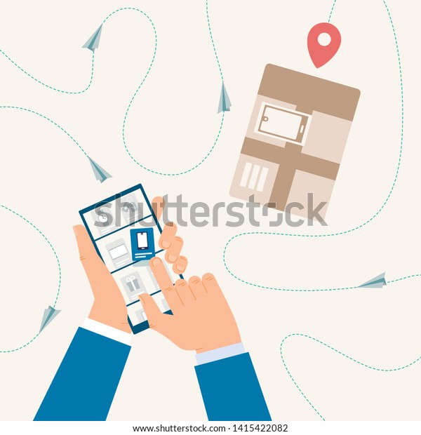 Shopping Online Tracking Delivery Status Mobile Stock Vector