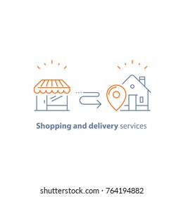Shopping order delivery to home, distribution service concept, retail business, store vector line icon, thin stroke
