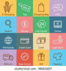 shopping outline design, vector infographic elements