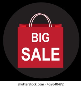 Shopping paper bag with big sale tag icon sign vector illustration