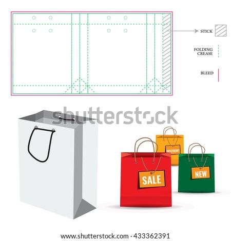 shopping paper bag die cut layout のベクター画像素材 ロイヤリティ