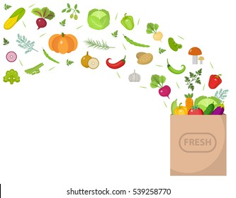 Shopping paper bag with fresh vegetables. Flat design. Set vegetables banner with space for text, isolated on white background. Healthy lifestyle, vegan, vegetarian diet, raw food. Vector illustration
