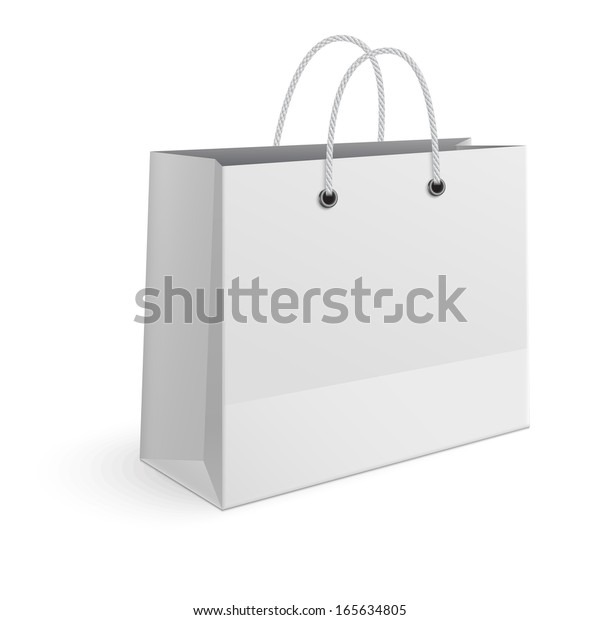 Shopping paper bag isolated on white background