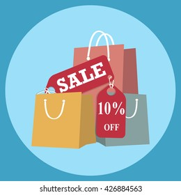 Shopping paper bag with sale 10 percent off tag, icon sign vector illustration