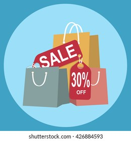 Shopping paper bag with sale 30 percent off tag, icon sign vector illustration