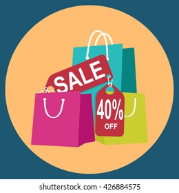 Shopping paper bag with sale 40 percent off tag, icon sign vector illustration