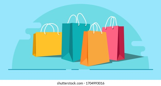 Shopping paper bag yellow empty, vector illustration