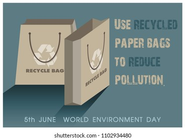 "Shopping paper bags made from the recycled brown paper and slogan with the day and name of ""World Environment Day"" isolate on navy blue background. All in vector design."
