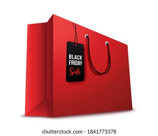 Shopping paper red  bag empty , vector illustration