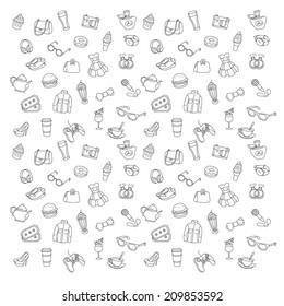 Shopping pattern icons set