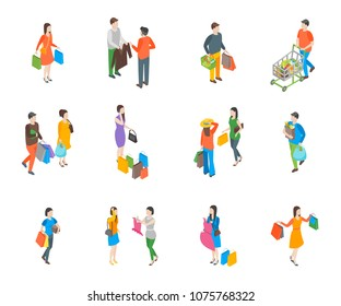 Shopping People 3d Icons Set Isometric View Include of Bag, Cart, Clothes, Couple, Gift and Trolley. Vector illustration