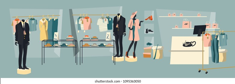 Shopping people. Interior of a clothing store with mannequins and shop windows. Illustration in flat style.
