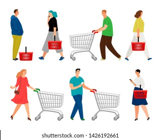 Shopping people. Man with shopping cart and woman with market basket vector illustration, retail cartoon supermarket buyers, grocery market customer people shoppers isolated on white