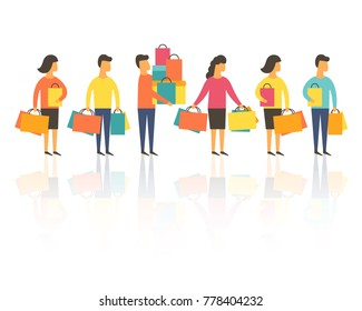 Shopping people, man and woman with bags standing in line queue. Vector illustration