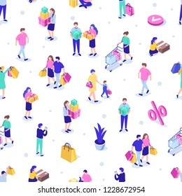Shopping people seamless pattern. Can use for web banner, infographics, hero images. Flat isometric vector illustration isolated on white background.