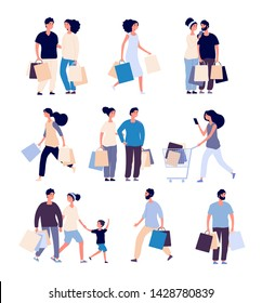 Shopping people set. Man and woman with shopping card buying product in grocery store. Isolated shopper cartoon vector characters set. Illustration of man and woman do shopping