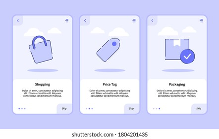 Shopping price tag packaging onboarding screen for mobile apps template banner page UI with three variations modern flat outline style