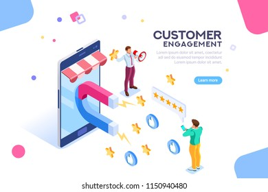 Shopping process of customer. Infographic of Seo on a smartphone. Purchase on website campaign a message to engagement for a like or a star. Review of search content. Isometric flat vector