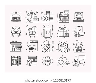 Shopping, promotions and discounts, online marketing. Set of vector linear icons.
