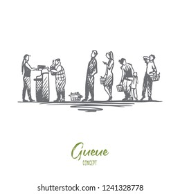 Shopping, purchases, queue, waiting, cash desk concept. Hand drawn people in the store stand in line at the cash register concept sketch. Isolated vector illustration.