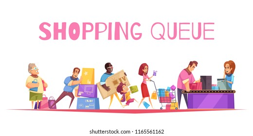 Shopping queue background composition with text and supermarket checkout images human characters of customers with goods vector illustration
