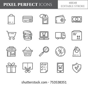 Shopping relaited pixel perfect icons set with different elements of commerce and delivery theme. Isolated 48x48 pixels pictograms vector illustration with editable stroke.