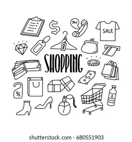Shopping related hand drawn doodle icons set.