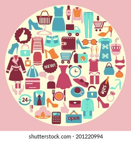 Shopping related icons made in circle shape  Clothing and shoes