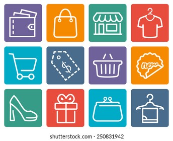 Shopping related vector icon set