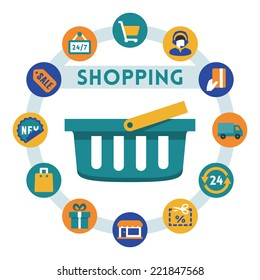 Shopping related vector infographic, flat style