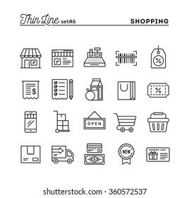 Shopping, retail, delivery, gift card, discount and more, thin line icons set, vector illustration