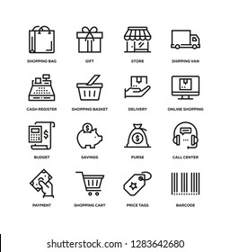 SHOPPING AND RETAIL LINE ICON SET