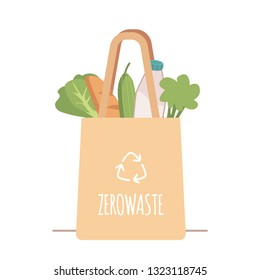 Shopping reusable grocery cloth bag with vegetables and products without packing in a flat style. Cotton eco bag, no plastic. Zero waste concept, vector illustration.