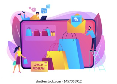 Shopping sale. Discount offer. Loyalty program. Customer attraction marketing. Sales promotion, creative retail promotion, boost your sales concept. Bright vibrant violet vector isolated illustration