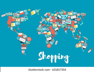 Shopping and sale icons creating world map. Shopping basket and bag, gift box, store, discount and price tag, money, credit card, cloth, shoes, calculator, and barcode symbols in shape of earth globe
