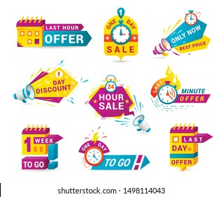 Shopping sales countdown promotional labels vector set. One day only, minute offer discounts badges isolated pack on white background. 24 hours low price advertisement stickers collection