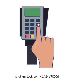 Shopping and sales dataphone with hand symbols vector illustration graphic design