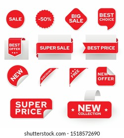 Shopping sales and discounts promotional labels vector set. New collection, super price badges isolated pack on white background. 50 percent off, free advertisement stickers collection