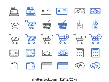 Shopping set. Vector online store icons.