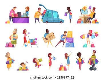 Shopping shopaholic icons collection of isolated cartoon style images and human characters of people with goods vector illustration